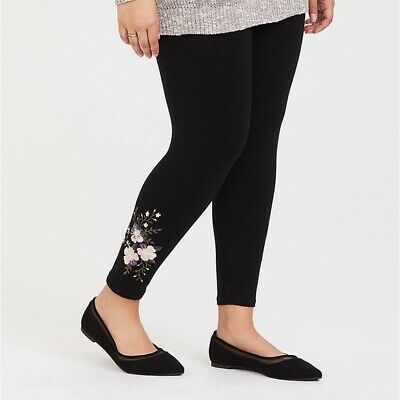 7e55a328c9b3ce Torrid 1/2/3X Leggings Black Crop Embroidered Beaded Floral Plus Size Boho  NWT