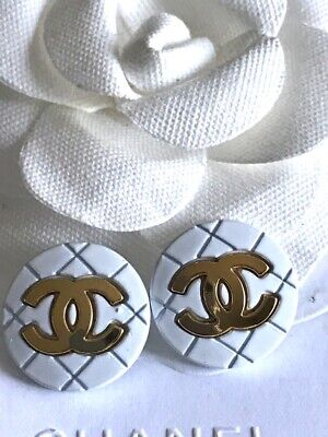 Set of 2  White/Gold CC Metal Buttons  , Size - 23mm