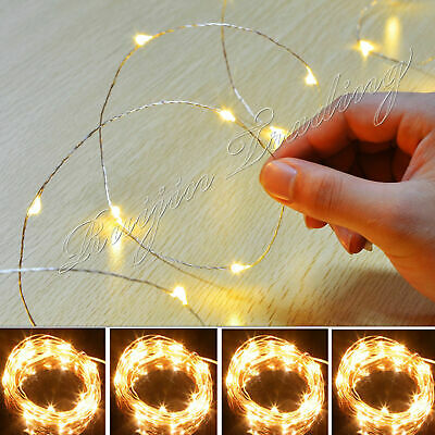 10-100 LED Battery Micro Rice Wire Copper Fairy String Lights Party white/rgb Du