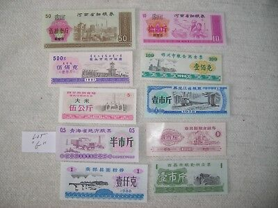 Lot Foreign Paper Money China Food Ration Coupon 500,100,50,5,10 Bills 10 Pc