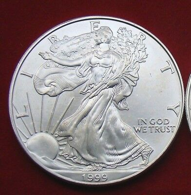 1999 Silver American Eagle BU 1 oz Coin US $1 Dollar U.S. Mint Uncirculated *999