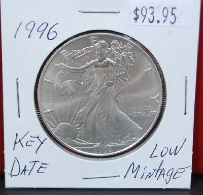 1996 Silver American Eagle BU 1 oz Coin US $1 Dollar Uncirculated Key Date *096