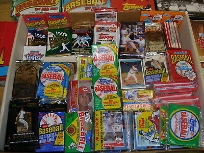 Huge LOT Vintage Over 1000 Baseball Cards in UNOPENED packs 1980's 1990's +Bonus