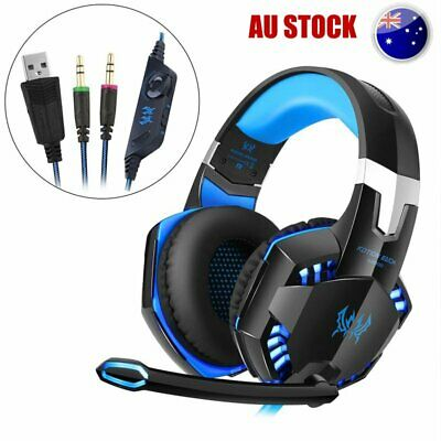 AU 3.5mm Gaming Headset Mic LED Headphones Stereo Surround PC Laptop  Xbox HO