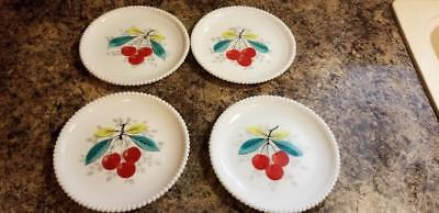 "4 Vintage Westmoreland Milk Glass Cherry Beaded Edge 7 5/16""  Salad Lunch Plate"