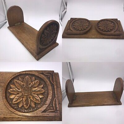 Antique Vintage Wooden Oak Folding Book Trough Shelf Cradle Stand Rack Slide