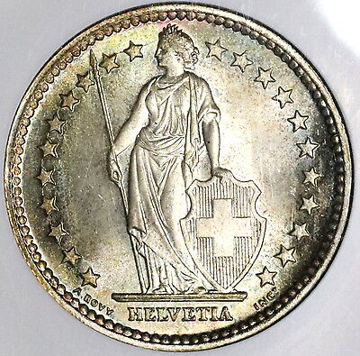 1953 NGC MS 66 SWITZERLAND Silver 2 Francs Key Date Swiss Coin (17022503C)