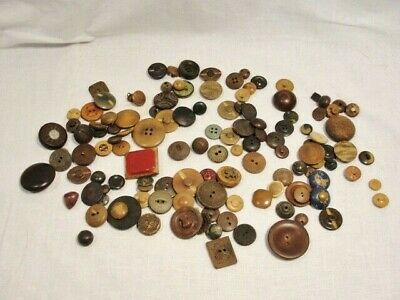 Lot 125+ vintage antique BUTTONS vegetable Ivory leather wood carved bakelite