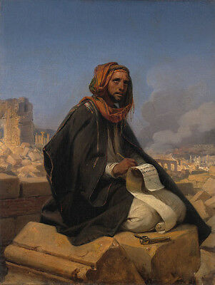 "oil painting on canvas ""jeremiah on the ruins of jerusalem """