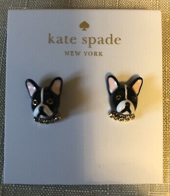 9213a555888 NWT KATE SPADE Antoine French Bulldog Bonjour Wool Pompom Beanie Hat ...