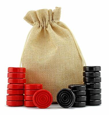 Black&Red Carved Stackable Wooden Checkers 24pieces Drawstring Cloth Storage Bag