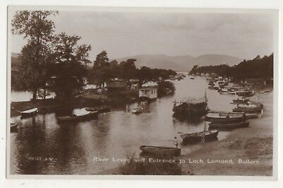 River Leven & Entrance To Loch Lomond Balloch RP Postcard Scotland 725b