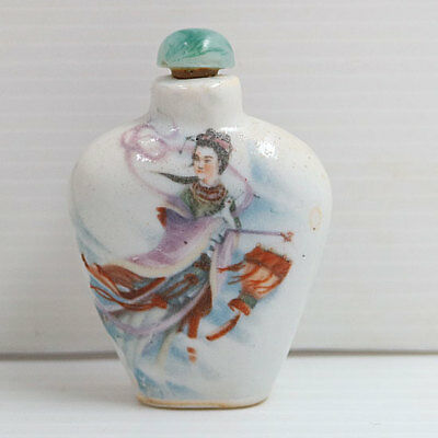 Collectible Antique Chinese Porcelain Snuff Bottle Ceramic Hand Paint Classical