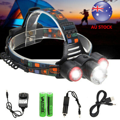 Bright 30000LM 3xT6 LED Rechargeable Headlamp Head Light Torch USB+18650+Charger