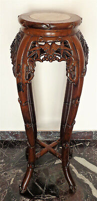 CINA (China): Fine Chinese marble stool carved in wood