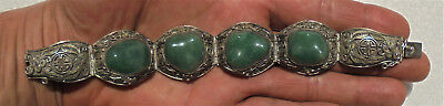CINA (China): Vintage Chinese silver filigree bracelet with Aventurine