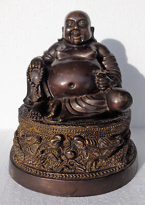 CINA (China): Old Chinese bronze Laughing Buddha figurine with dragon base