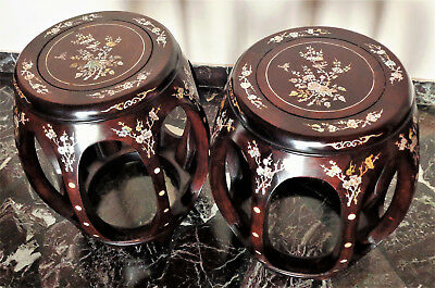CINA (China): Pair of Chinese Rosewood drum stool inlaid with mother of pearl
