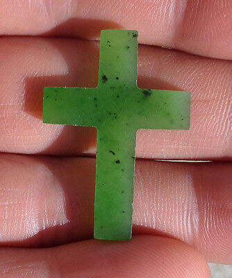 CINA (China): small Cross carved in green nephrite jade - 1 piece