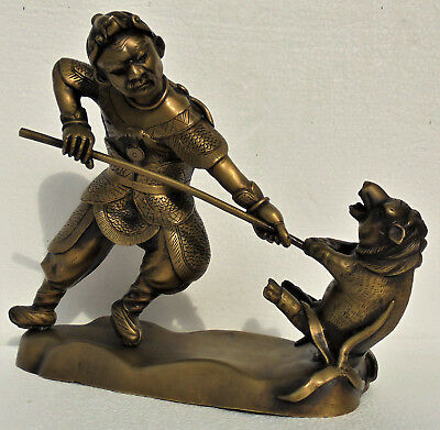 Old Chinese or Japanese bronze figure with man & pig