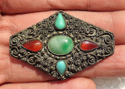 CINA (China): Old Chinese silver tone filigree pin with jade and turquoise