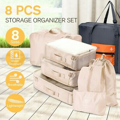 8PCS Packing Cubes Pouches Travel Luggage Organiser Clothes Suitcase Storage Bag