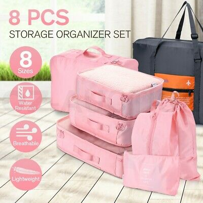 8PCS Pack Packing Cubes Travel Pouches Luggage Organiser Clothes Storage Bag