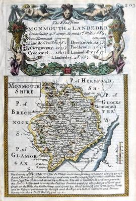 MONMOUTHSHIRE  WALES MONMOUTH  BY EMANUEL BOWEN GENUINE ANTIQUE MAP c1720