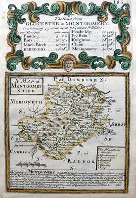 MONTGOMERYSHIRE  MONTGOMERY  WALES  BY EMANUEL BOWEN GENUINE ANTIQUE MAP c1720