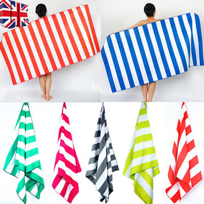 Striped Extra Large Microfibre Lightweight Beach Towel - Quick Dry- Travel Towel