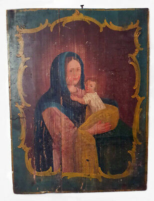 Antique 19th C Ukrainian Hand Painted Icon in Baroque Style of the Mother of God
