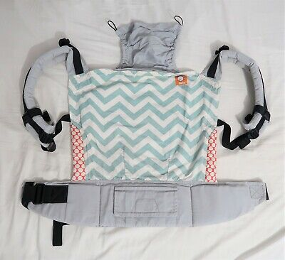 Tula toddler carrier ECU. Blue gray zig zag. front and back carry. 100% cotton