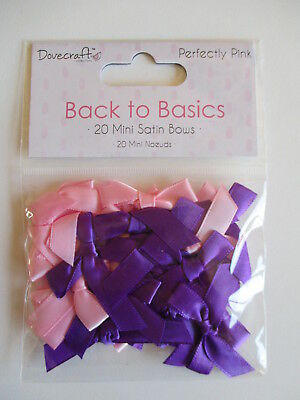 Dovecraft Perfectly Pink 20 Mini Satin Ribbon Bows - pink & purple