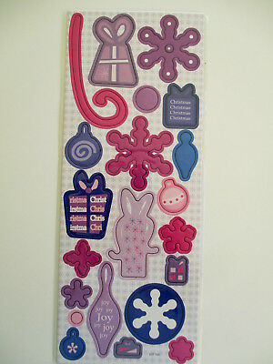 Christmas Chipboard Shapes -pink & purple - snowflakes & decorations
