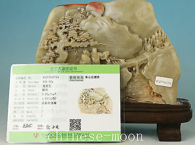 valuable exquisite Shoushan Stone Hand-Carved Man Bridge Landscape Statue Decor