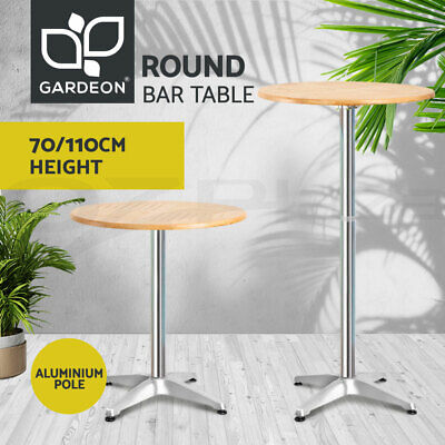 Gardeon Outdoor Bar Table Aluminium Furniture Adjustable Wooden Table Cafe Round