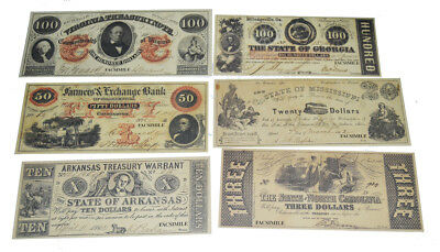 Civil War ACW New Replica 11 x Confederate Southern States Paper Money Currency