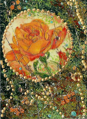 """ACEO """"The Rose"""" Original Collage and Acrylic Painting - By Hélène Howse"""