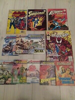 Comics Lot. Exploits Spiderman, Punisher, Commando, Astounding Storise, Suspense