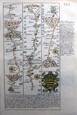 WALES  CARMARTHEN RADNOR PRESTAIN  BY EMANUEL BOWEN GENUINE ANTIQUE  MAP c1720