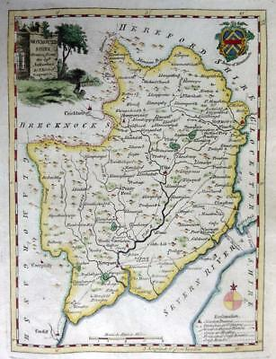 MONMOUTHSHIRE MONMOUTH BY THOMAS KITCHIN GENUINE COPPER ENGRAVED MAP  c1770