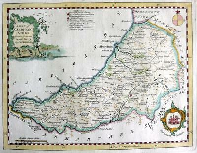 CARDIGANSHIRE CARDIGAN  BY THOMAS KITCHIN GENUINE COPPER ENGRAVED MAP  c1770