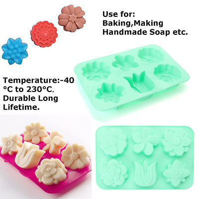 6 Cavity Flower Shaped Silicone Soap Mold DIY Handmade Candle Cake Mold