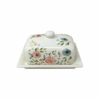 2 X Floral Flowers Leaves Green Pink White Butter Dish 13X17X12Cm - 5X6.75X4.75""