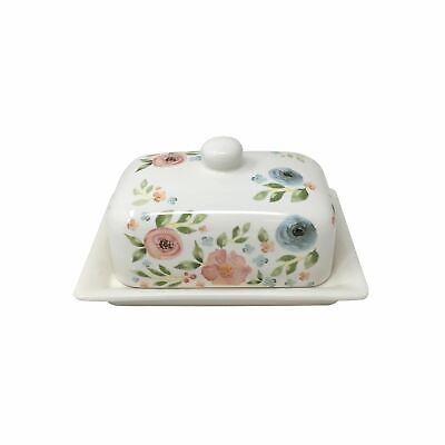 Floral Flowers Leaves Green Pink White Butter Dish 13X17X12Cm - 5X6.75X4.75""