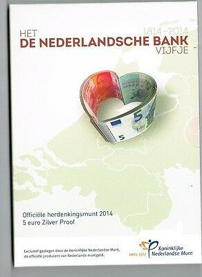 €5 Munt Zilver Proof 2014 Nederlandsche Bank Blister