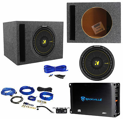 "Amp Kit Kicker 44TCWC102 10/"" 600W Subwoofer Box+Boss AR1500M 1500W Mono Amp"