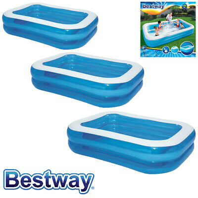 Bestway Deluxe Inflatable Family Patio Garden Rectangular Paddling Swimming Pool