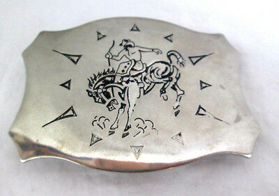 "Belt Buckle Cowboy on Horse Silver-tone Stainless Steel Chambers Belt Co. 3.25""L"