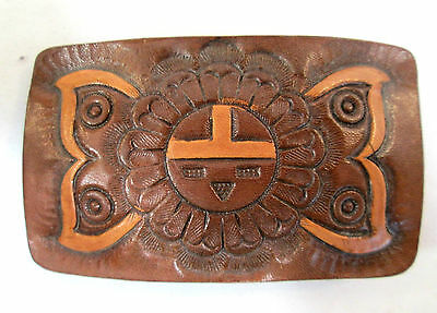 "Vintage Leather Belt buckle Sun Design 3-1/4"" wide x 2"" long 1-1/2"" belt loop"